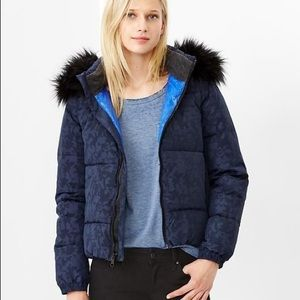 Gap Puffer Jacket Blue Camo Fur Hood Jacket